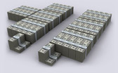 US Deficit Spending & Revenue Visualized in $100 bills